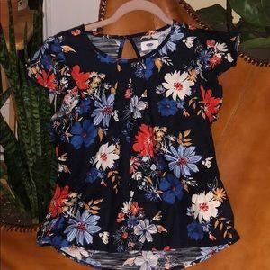 Navy floral top